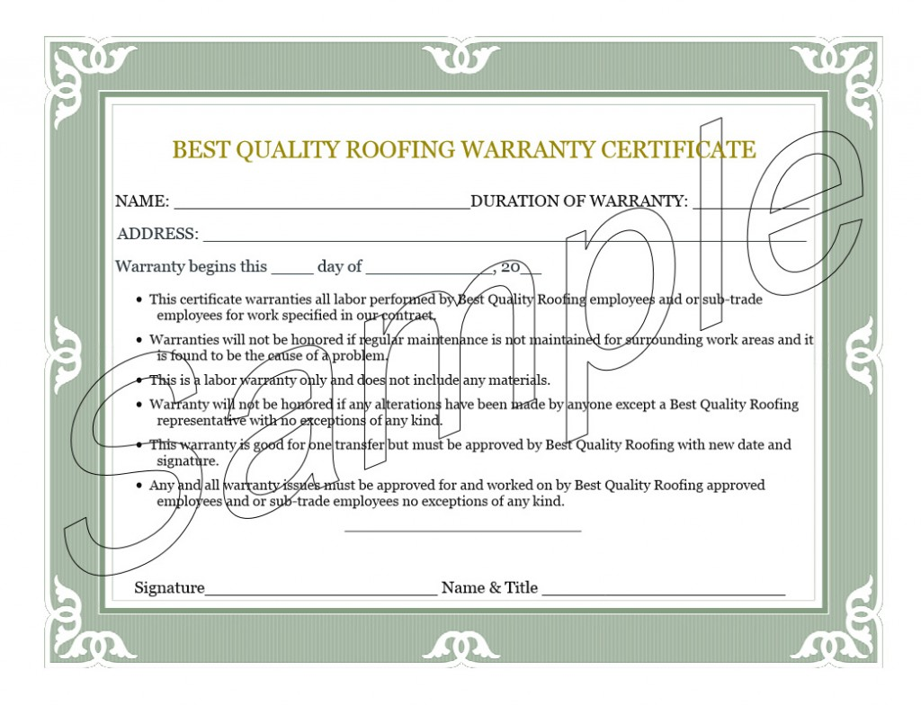 sample roofing warranty